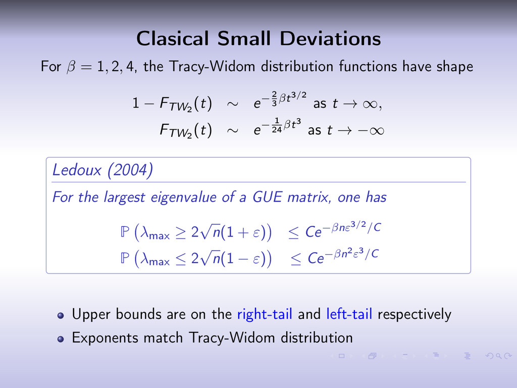 Clasical Small Deviations For β = 1, 2, 4, the ...