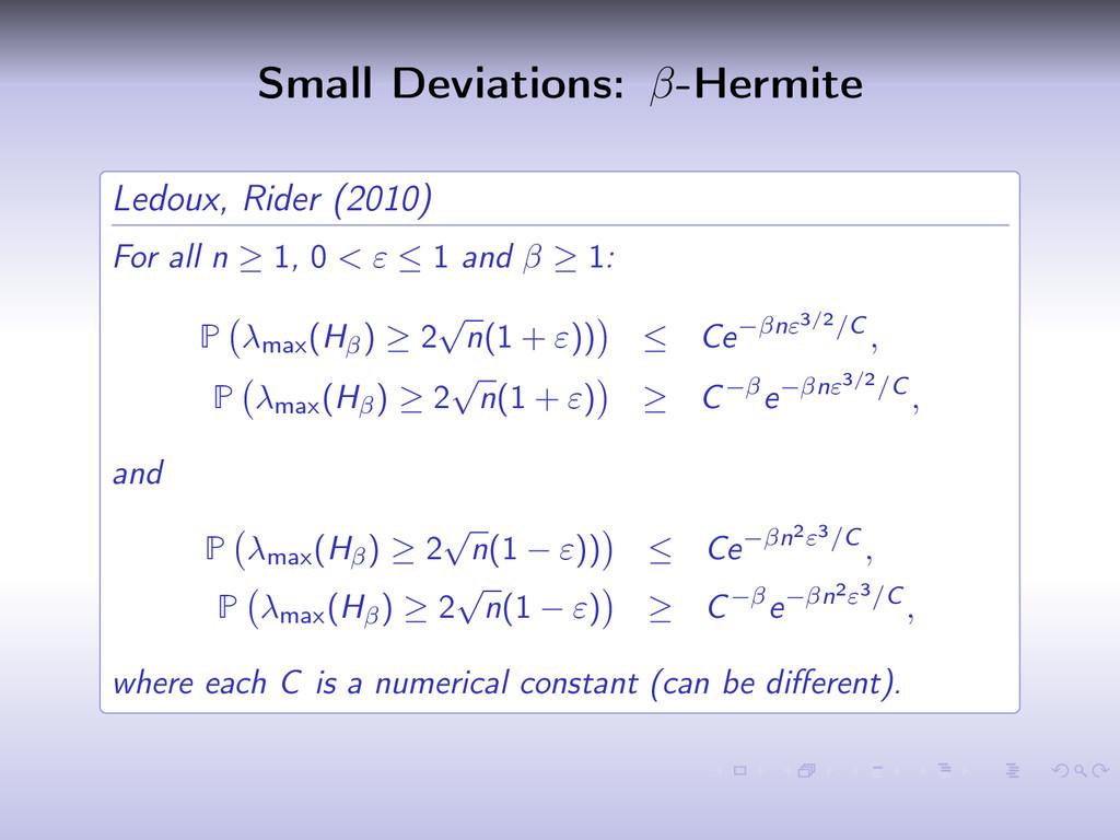 Small Deviations: β-Hermite Ledoux, Rider (2010...