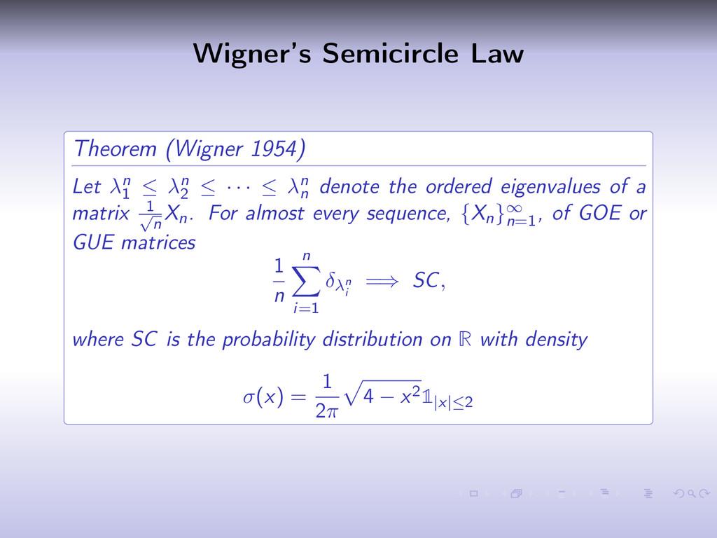 Wigner's Semicircle Law Theorem (Wigner 1954) L...