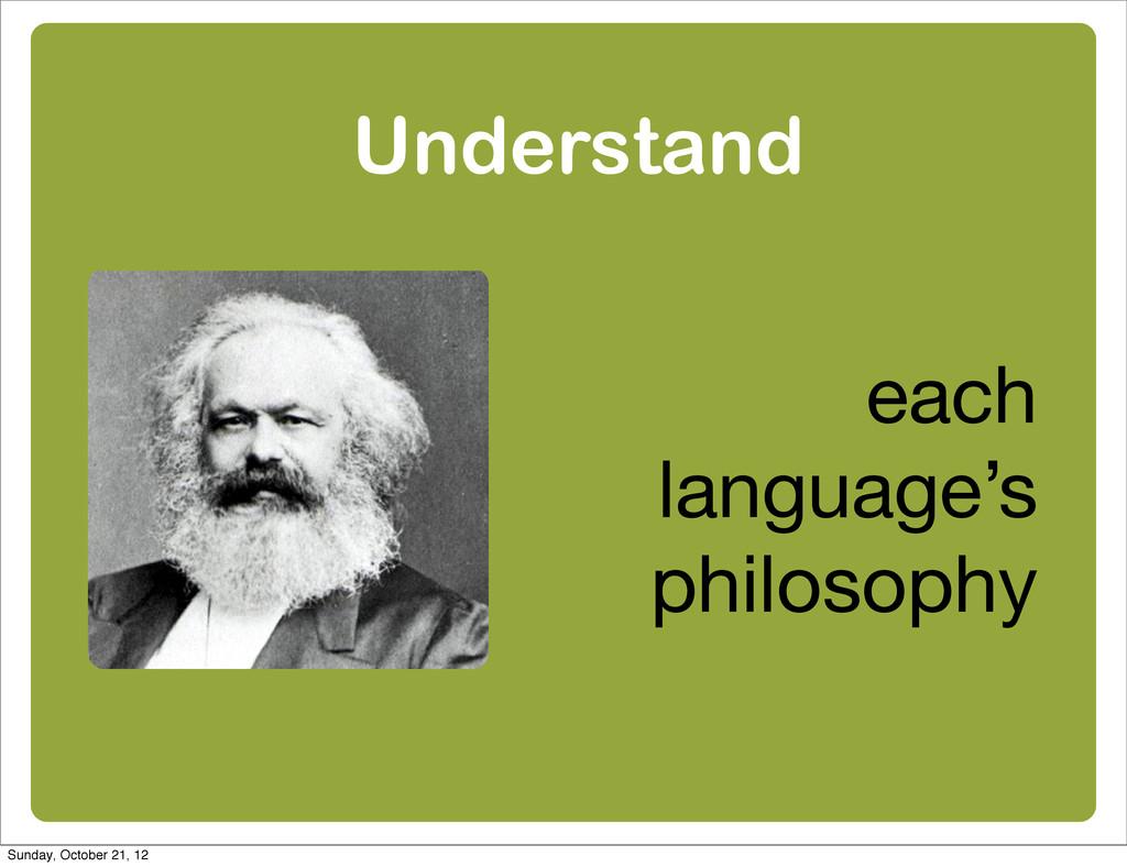 Understand each language's philosophy Sunday, O...