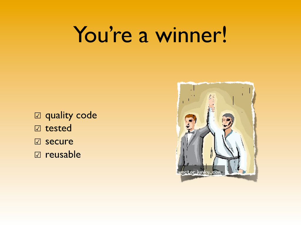 You're a winner! ☑ quality code ☑ tested ☑ secu...
