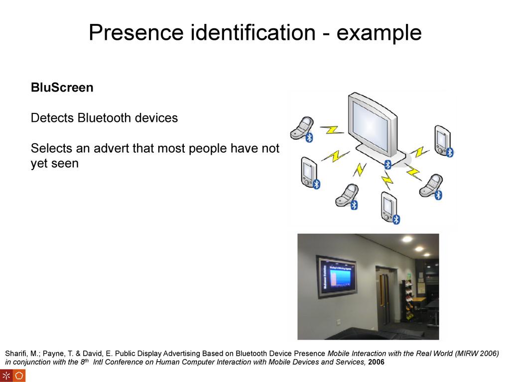 Presence identification - example Sharifi, M.; ...