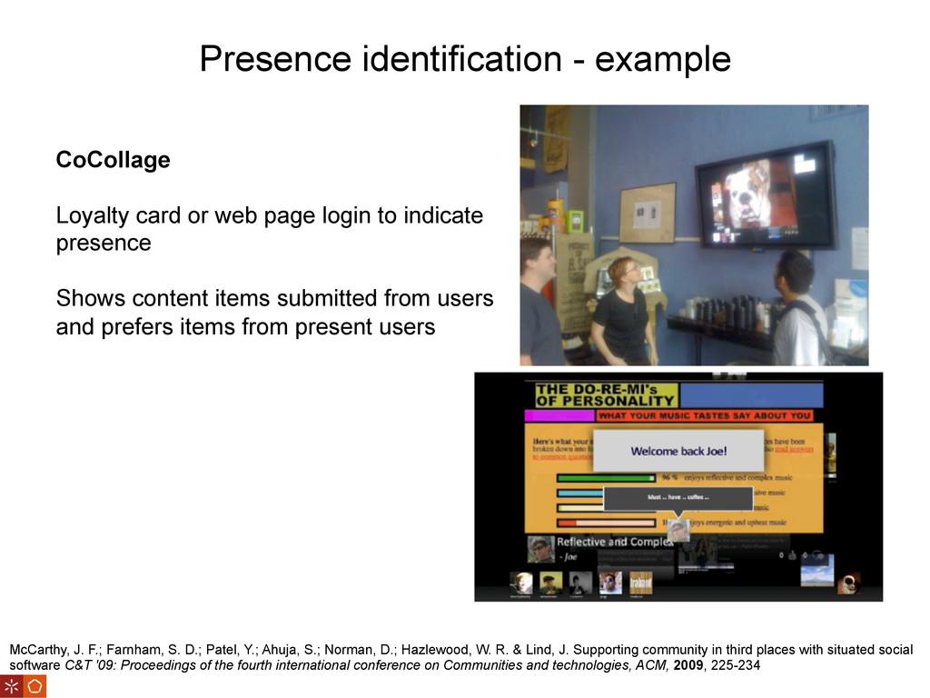 Presence identification - example McCarthy, J. ...