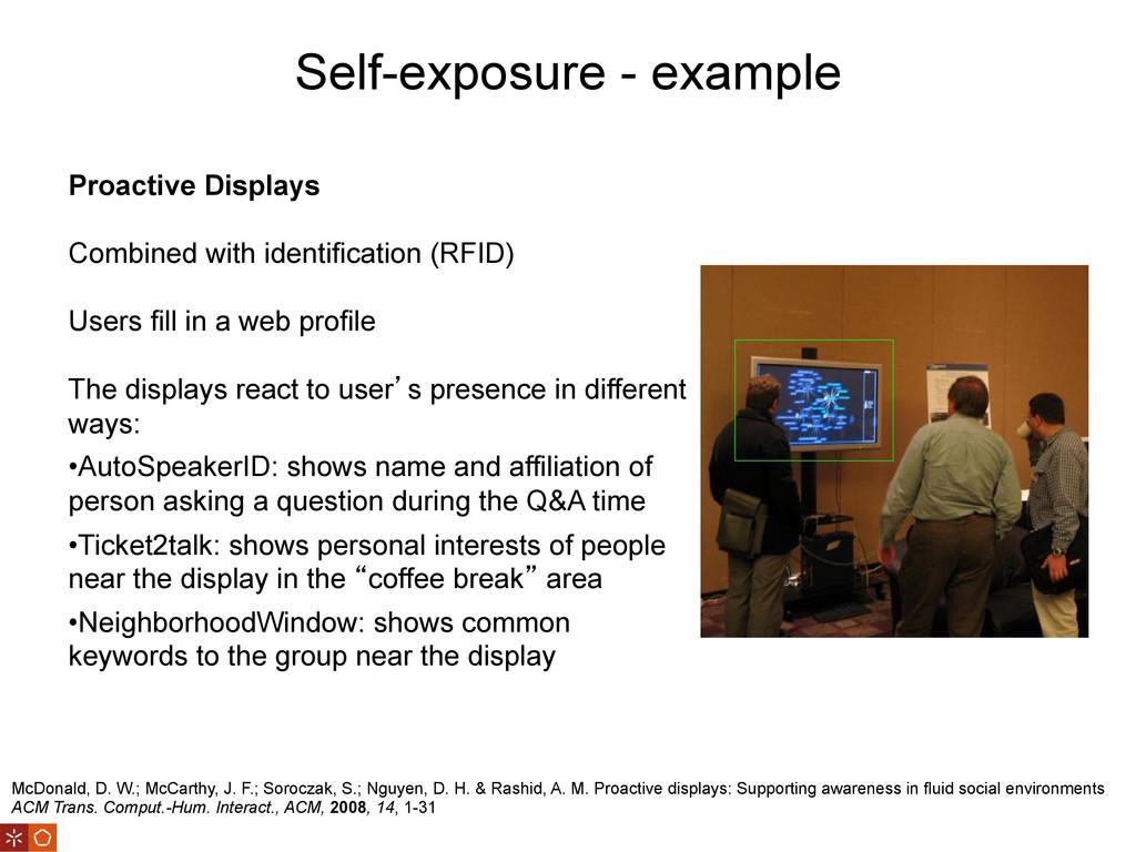 Self-exposure - example McDonald, D. W.; McCart...