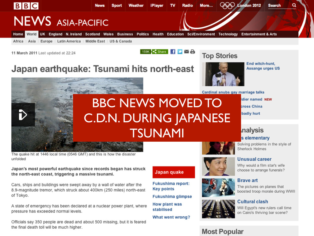 BBC NEWS MOVED TO C.D.N. DURING JAPANESE TSUNAMI