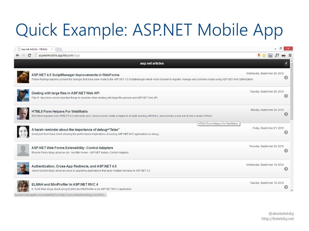 @alexbeletsky http://beletsky.net Quick Example...