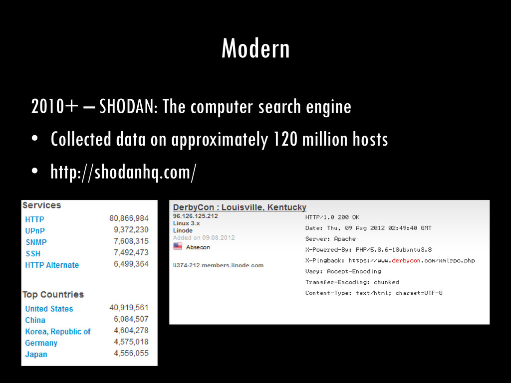 Modern 2010+ – SHODAN: The computer search engi...