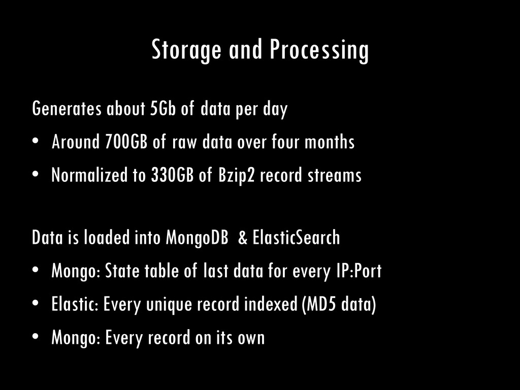 Storage and Processing Generates about 5Gb of d...