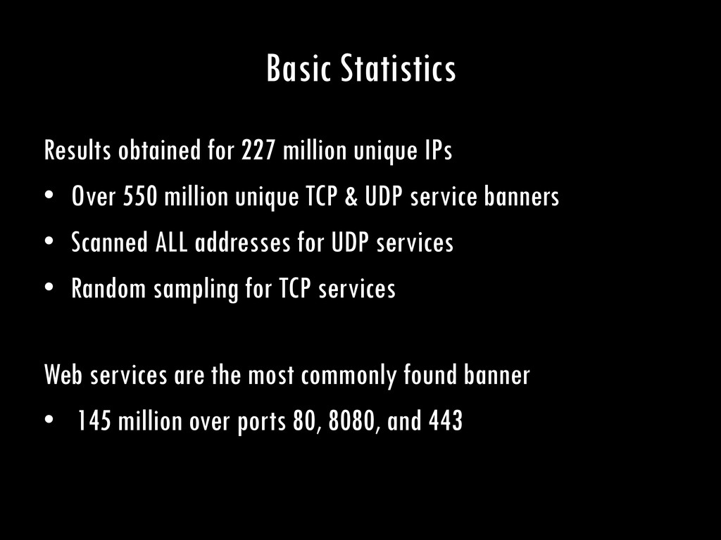 Basic Statistics Results obtained for 227 milli...