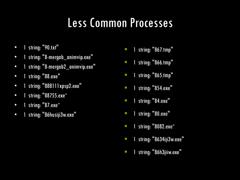 "Less Common Processes • 1 string: ""90.txt"" • 1 ..."