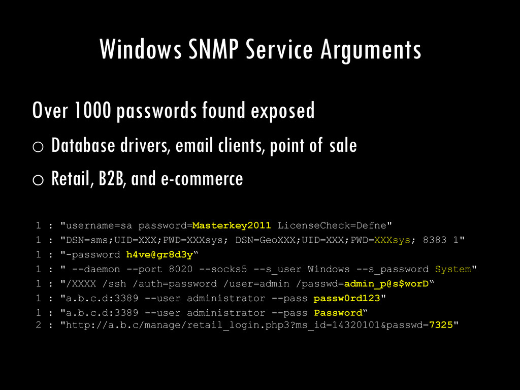 Windows SNMP Service Arguments Over 1000 passwo...