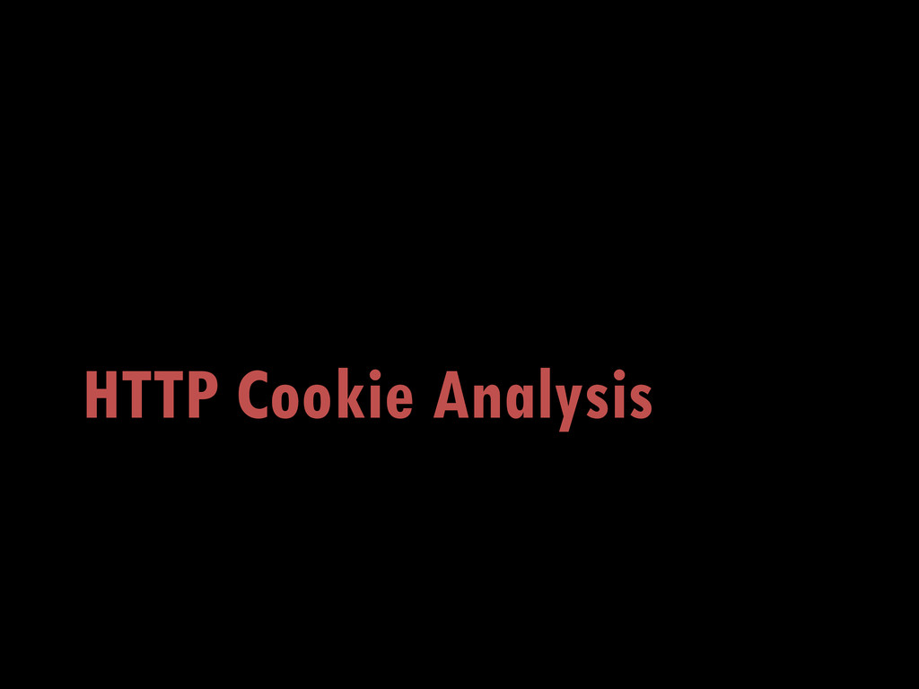 HTTP Cookie Analysis