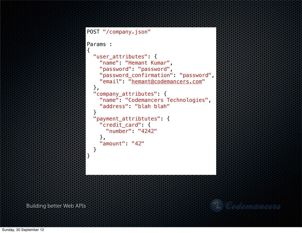 """Building better Web APIs POST """"/company.json"""" P..."""