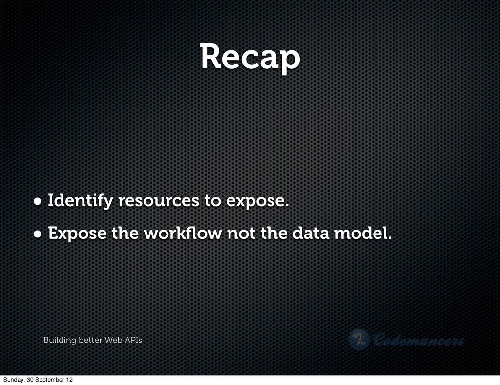 Building better Web APIs Recap • Identify resou...
