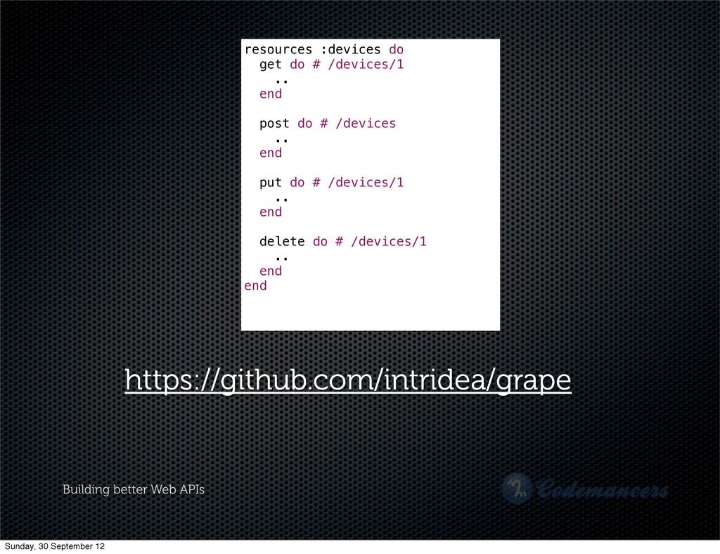 Building better Web APIs resources :devices do ...