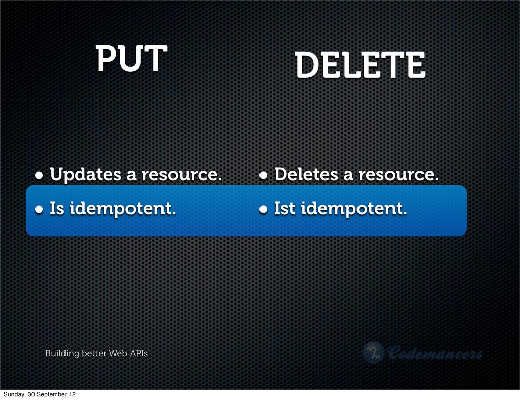 Building better Web APIs PUT • Updates a resour...