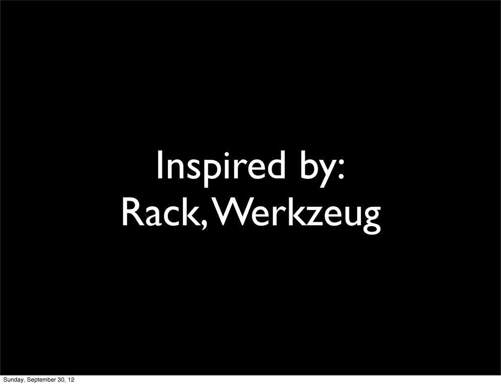 Inspired by: Rack, Werkzeug Sunday, September 3...