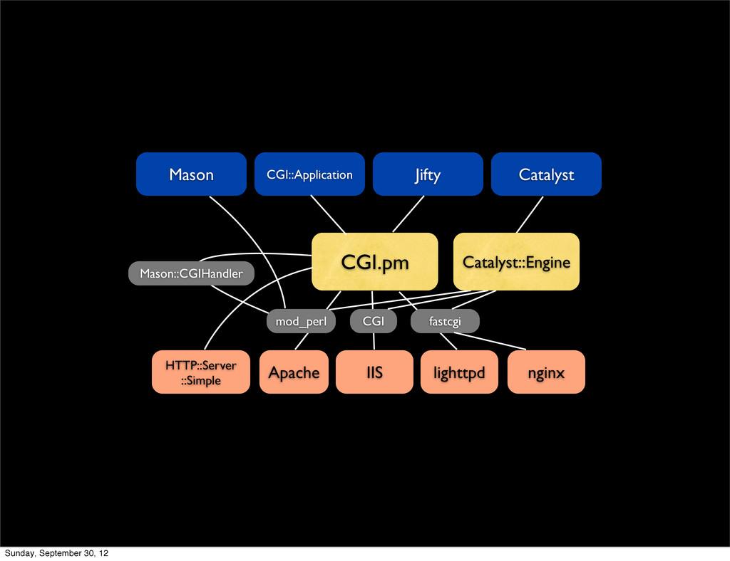 CGI::Application Apache IIS lighttpd CGI.pm CGI...