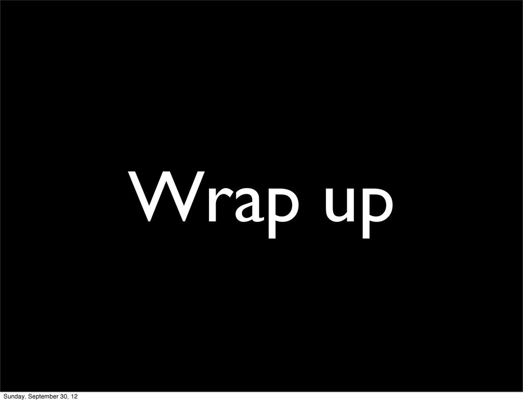 Wrap up Sunday, September 30, 12