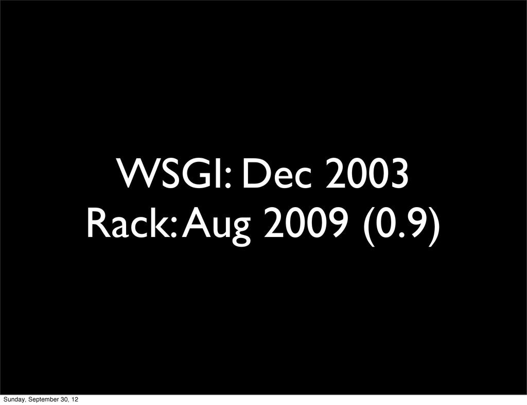 WSGI: Dec 2003 Rack: Aug 2009 (0.9) Sunday, Sep...