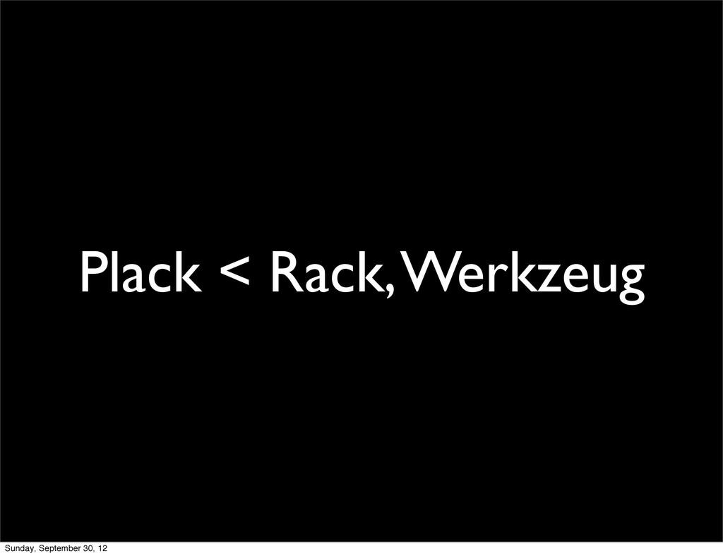 Plack < Rack, Werkzeug Sunday, September 30, 12