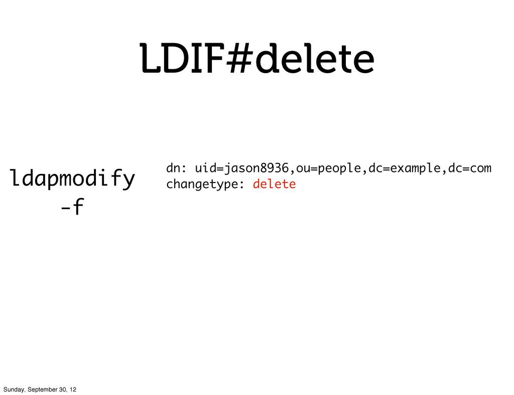 LDIF#delete ldapmodify -f dn: uid=jason8936,ou=...
