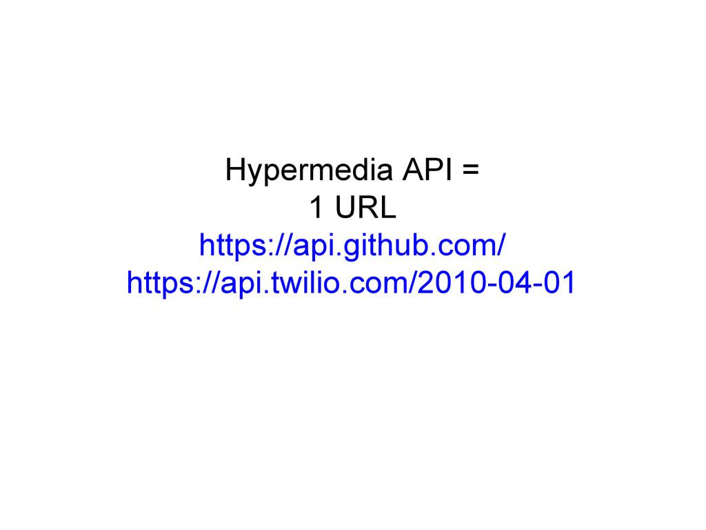 Hypermedia API = 1 URL https://api.github.com/ ...
