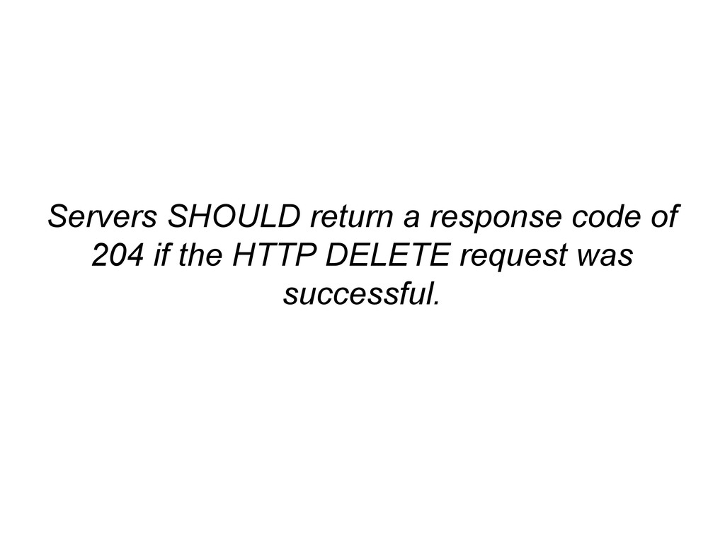 Servers SHOULD return a response code of 204 if...