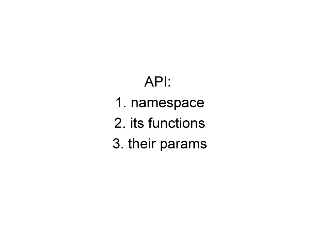 API: 1. namespace 2. its functions 3. their par...