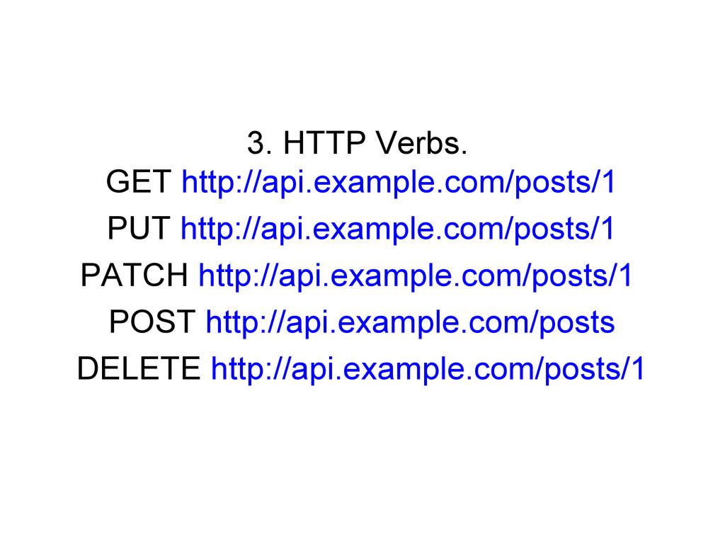 3. HTTP Verbs. GET http://api.example.com/posts...