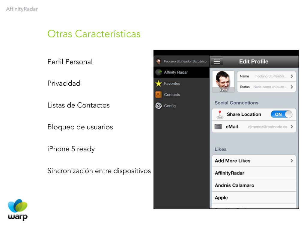 AffinityRadar Perfil Personal Privacidad Listas...