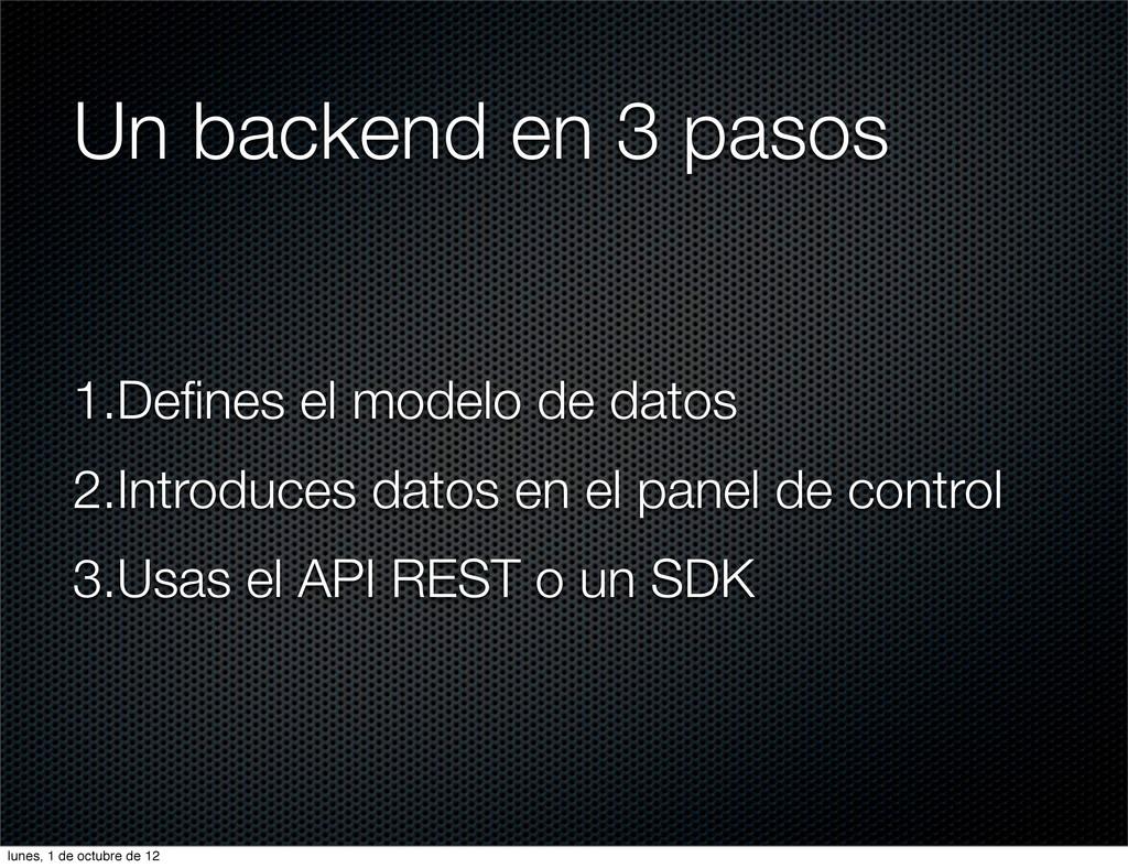 Un backend en 3 pasos 1.Defines el modelo de dat...