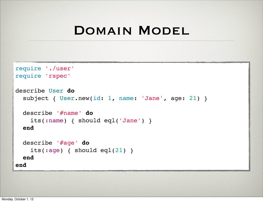 Domain Model require './user' require 'rspec' d...
