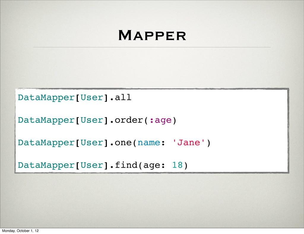 Mapper DataMapper[User].all DataMapper[User].or...