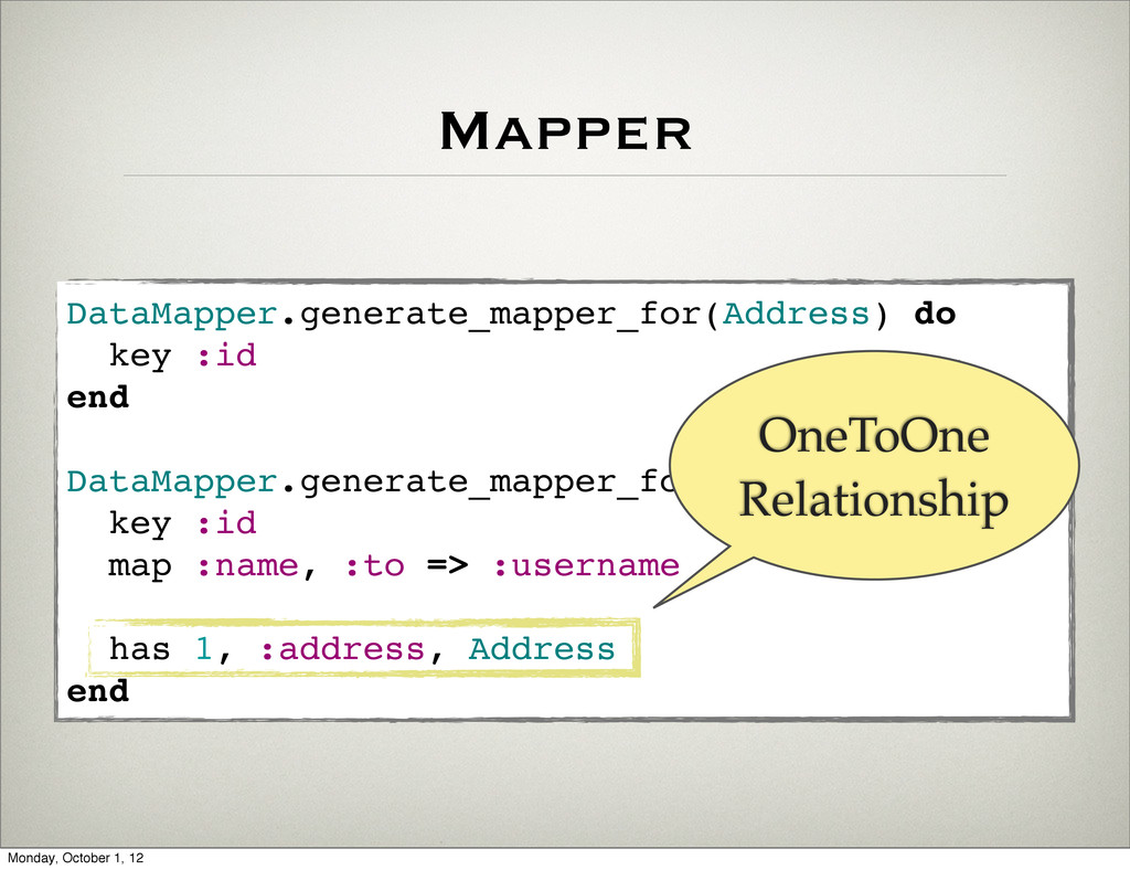 Mapper DataMapper.generate_mapper_for(Address) ...