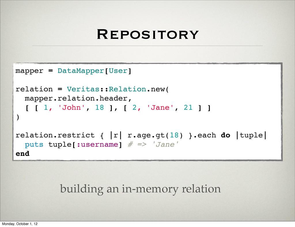 Repository mapper = DataMapper[User] relation =...