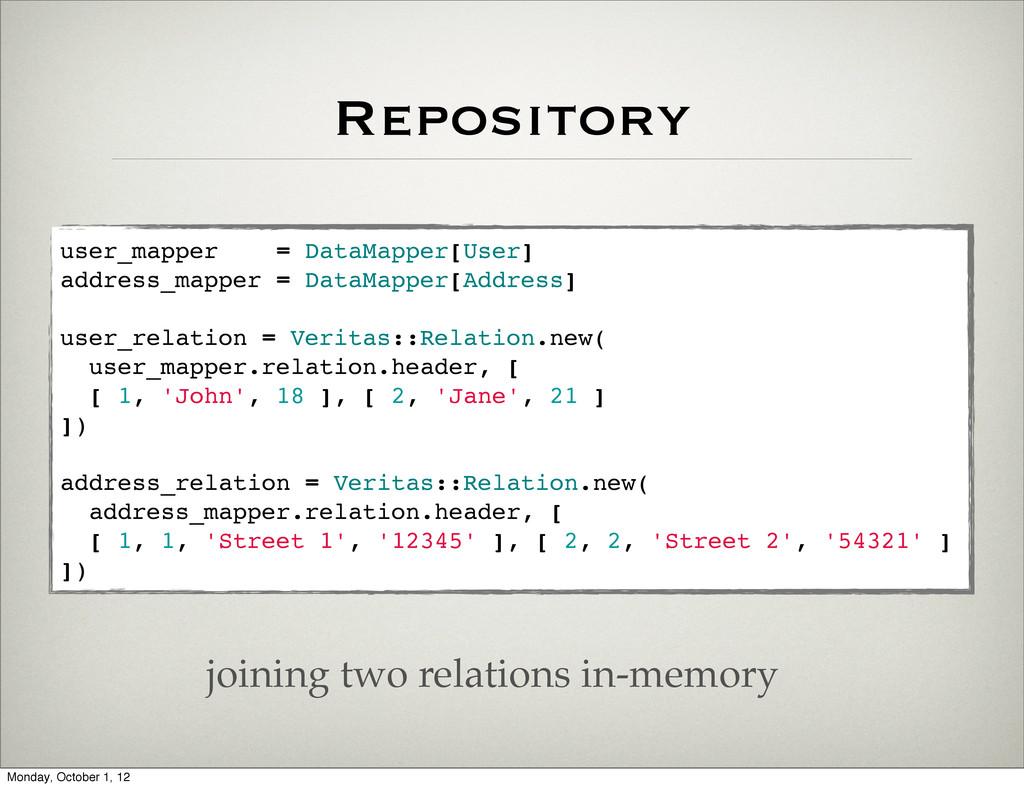 Repository user_mapper = DataMapper[User] addre...