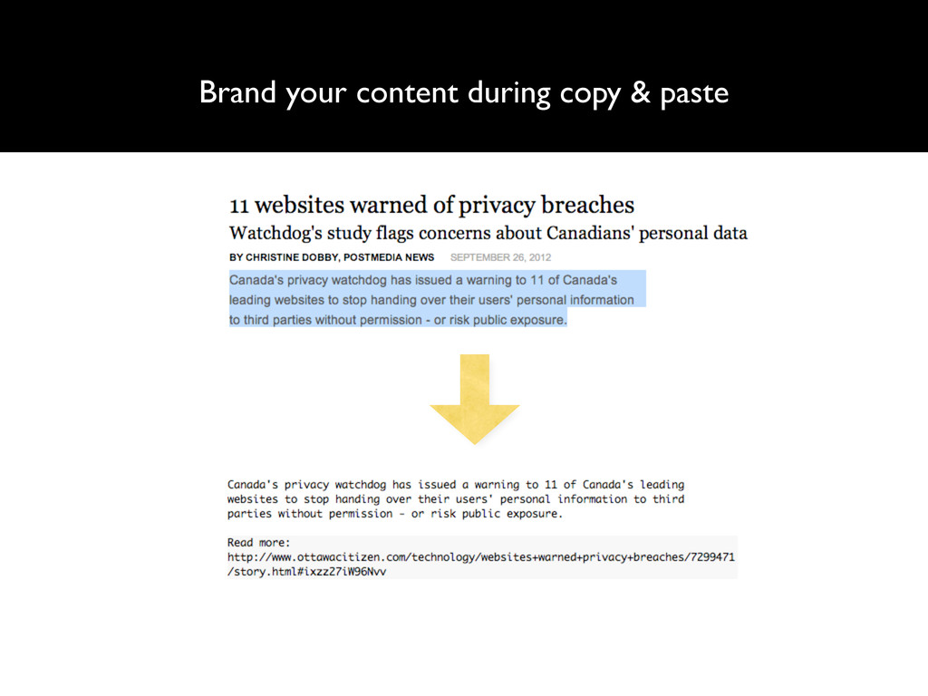 Brand your content during copy & paste