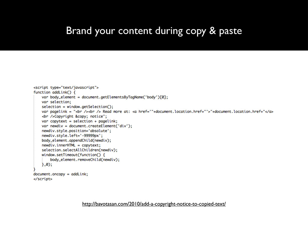 Brand your content during copy & paste http://b...