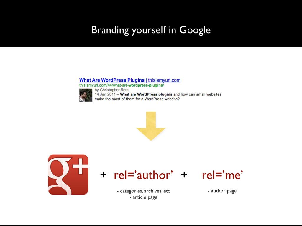 Branding yourself in Google + rel='author' + re...