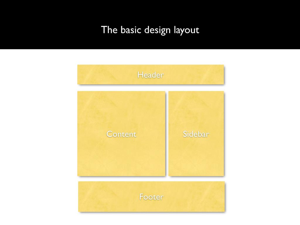 The basic design layout Header Content Sidebar ...