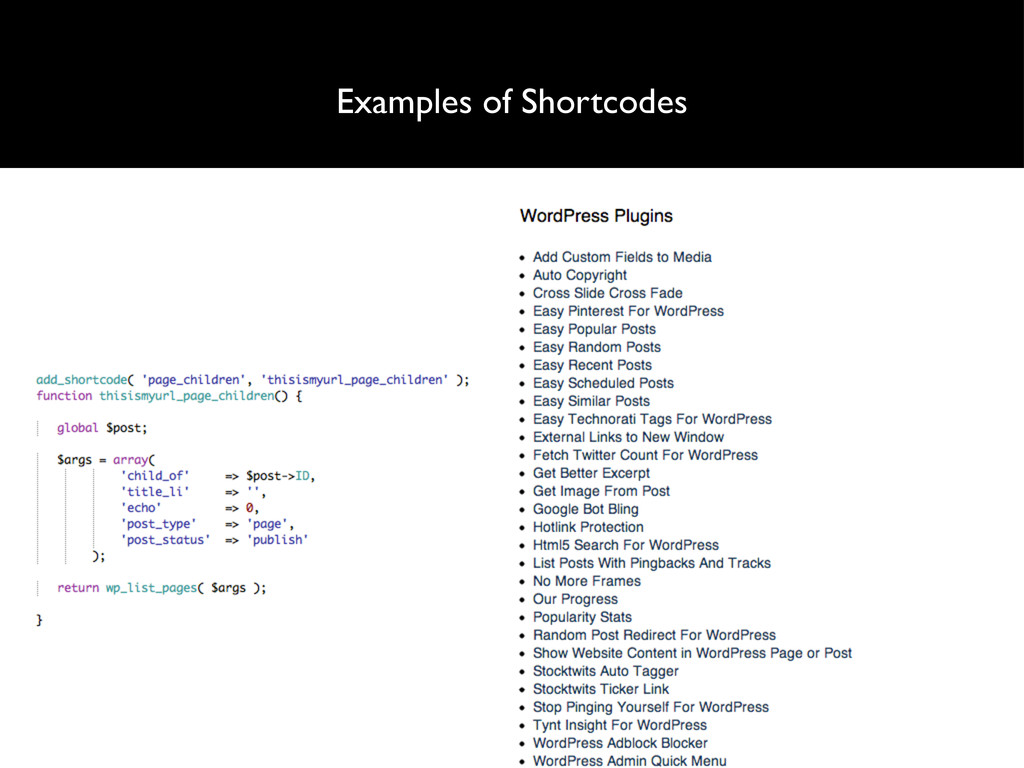 Examples of Shortcodes