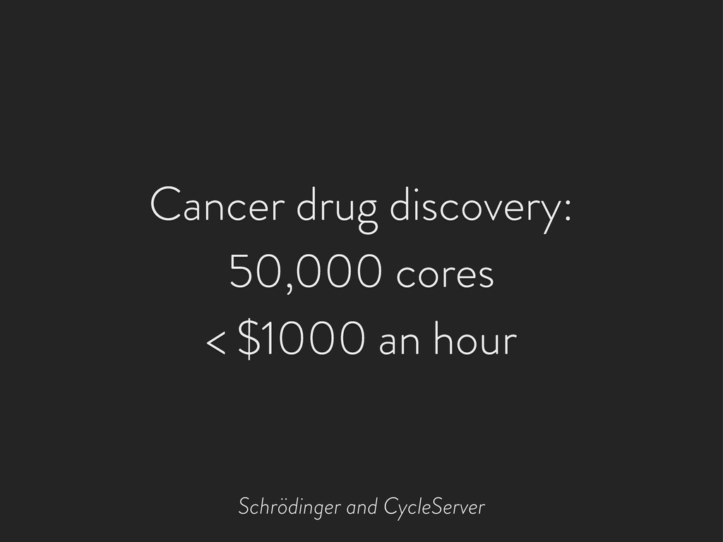 Cancer drug discovery: 50,000 cores < $1000 an ...