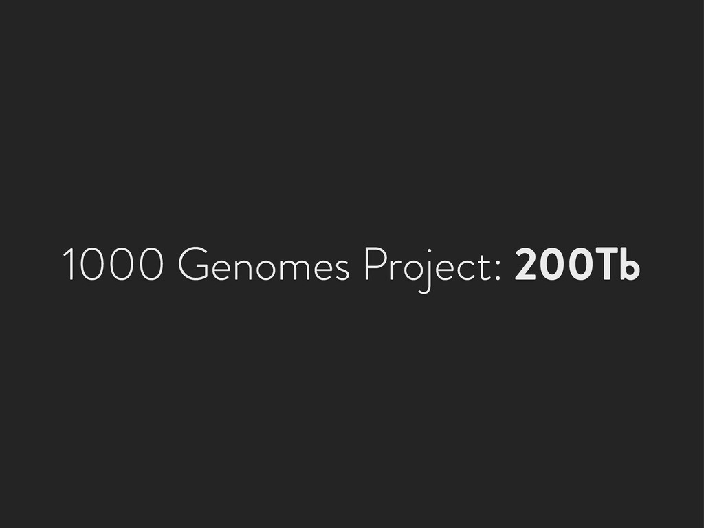 1000 Genomes Project: 200Tb