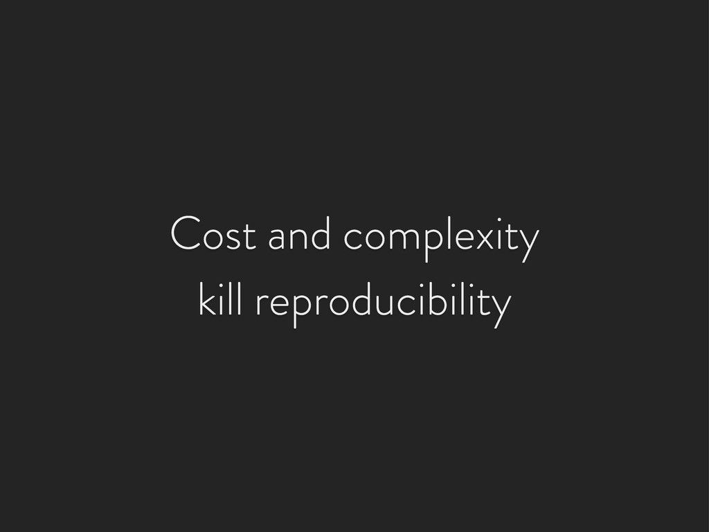 Cost and complexity kill reproducibility