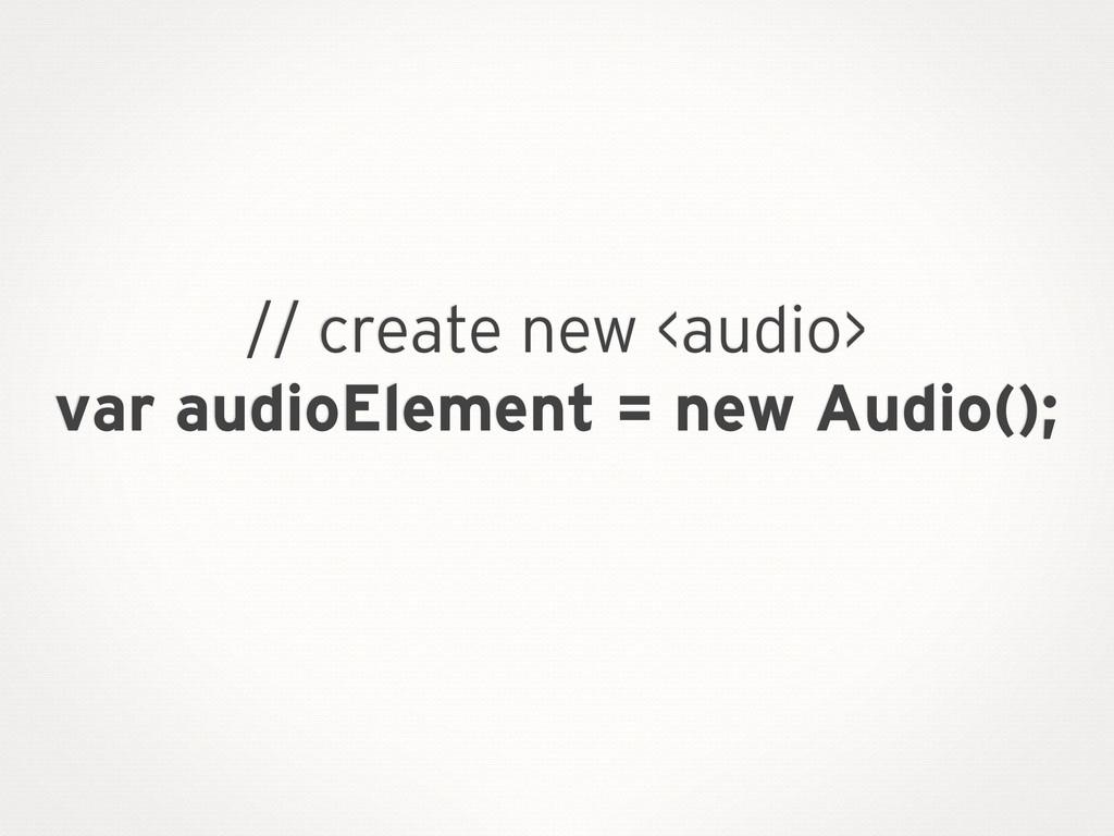 // create new <audio> var audioElement = new Au...