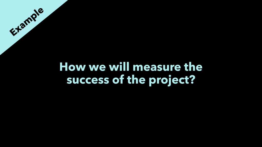How we will measure the success of the project?...