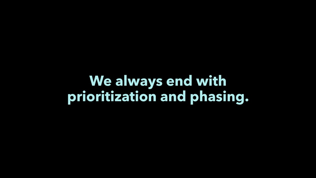 We always end with prioritization and phasing.