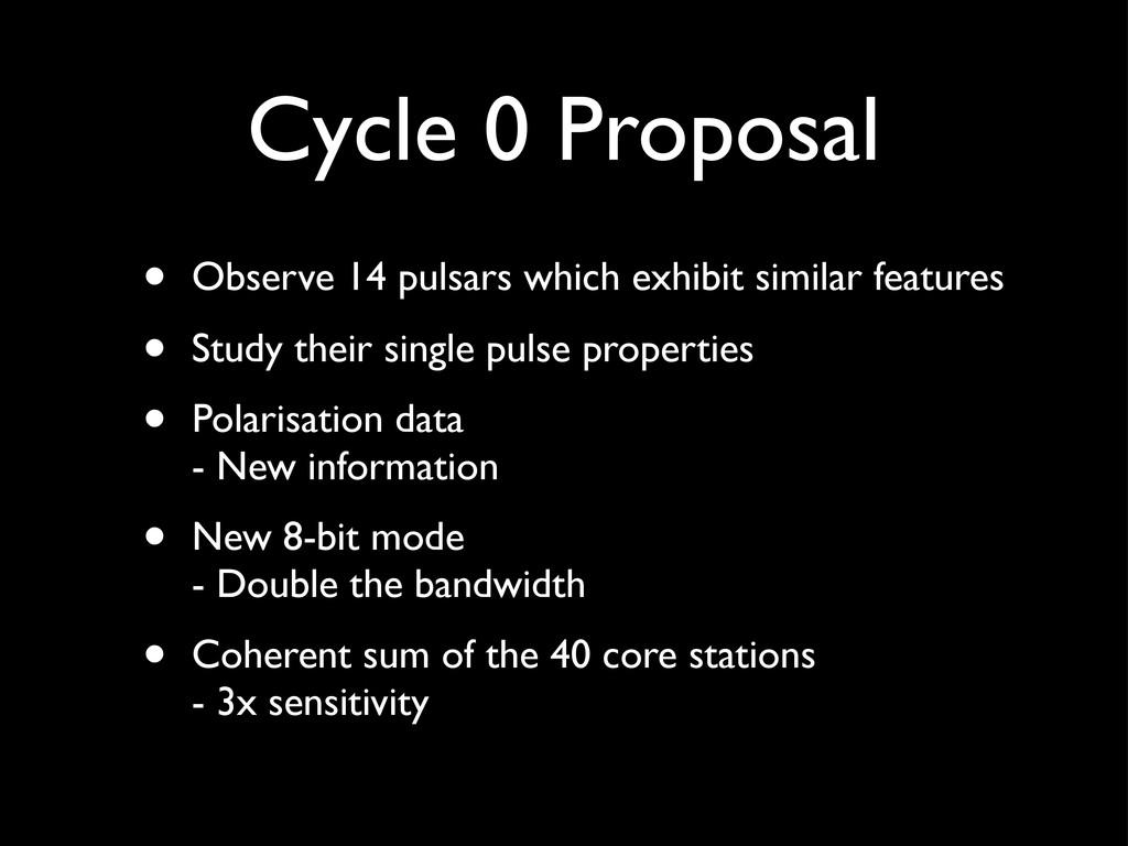 Cycle 0 Proposal • Observe 14 pulsars which exh...