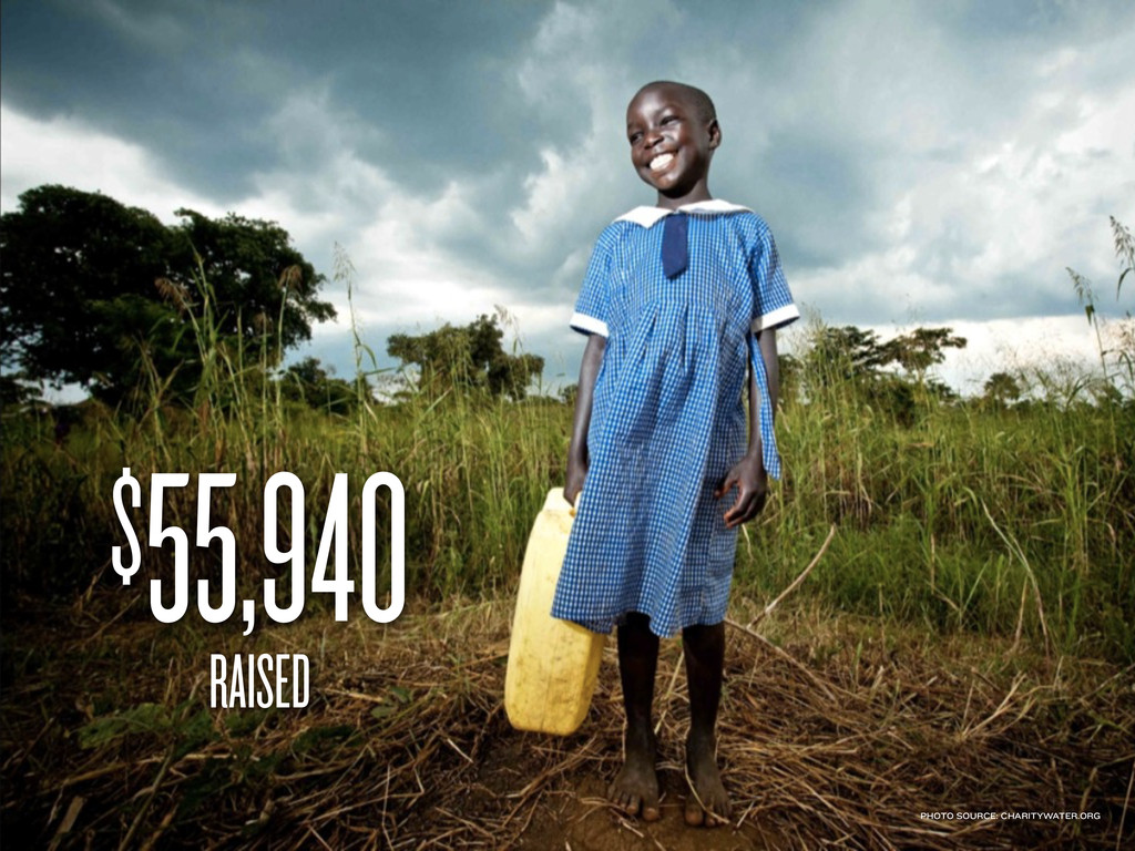 $55,940 RAISED PHOTO SOURCE: CHARITYWATER.ORG